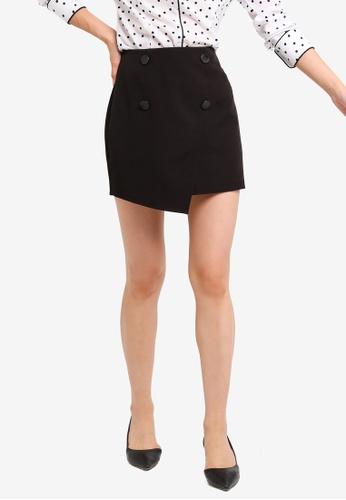 ZALORA BASICS black Basic Front Button Mini Skirt DEFA3AA0D0854FGS_1