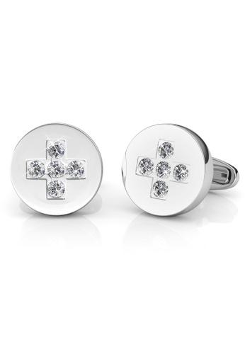 Her Jewellery silver Swarovski® Crystals - Chris Cufflinks (18K White Gold Plated) Her Jewellery HE581AC0RCBSMY_1