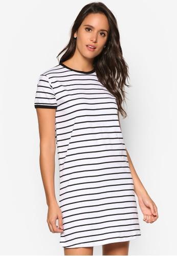 Ringer 條紋esprit 品牌連身裙TEE, 服飾, 洋裝