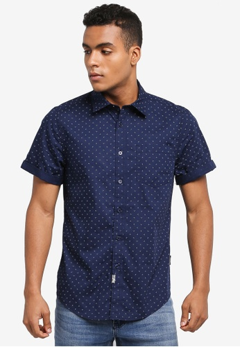 Indicode Jeans navy Halifax Short Sleeve Printed Shirt 73FFBAA64D7D4AGS_1
