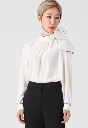 韓流時尚 透視圍巾襯衫 F4111, 服飾, 襯esprit服飾衫