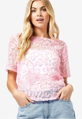 Dorothy Perkins pink Swirl Mesh Short Sleeve Top B19DCAA9B77888GS_1
