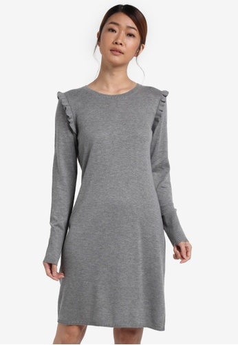 ESPRIT grey Flat Knitted Mini Dress ES374AA0SPHDMY_1