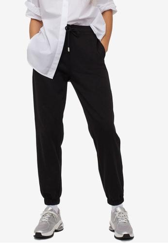 H&M black Cotton-Blend Sweatpants F2456AA37D9412GS_1