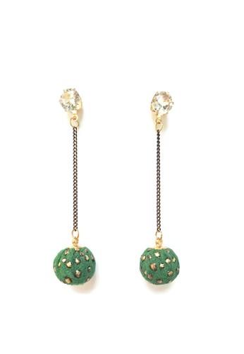 La Miina green Rudolph Fabric Round Earrings 30928AC1833729GS_1
