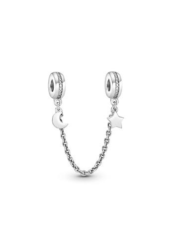 PANDORA silver Pandora Half Moon & Star Safety Chain Charm D31F5ACC247DF2GS_1