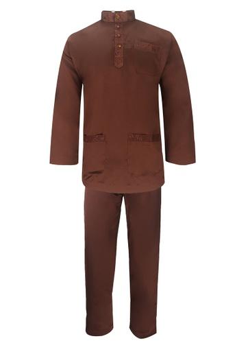 Pacolino brown Baju Melayu Cekak Musang with pants For Kids - BM17001 (Brown) AF8A5KAFA7B007GS_1