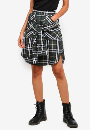 Buy Hopeshow Checkered Skirt With Tie Belt Online on ZALORA Singapore feff0713f47cd