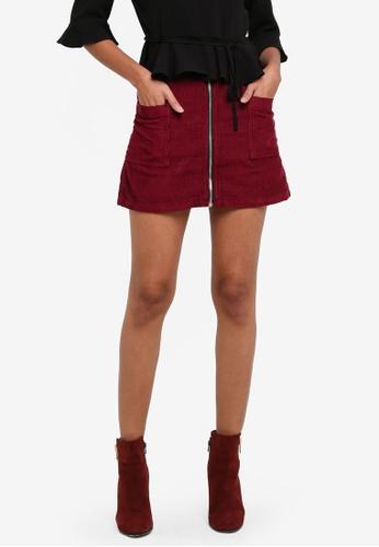 TOPSHOP red Petite MOTO Cord Zip Skirt TO412AA0S7USMY_1