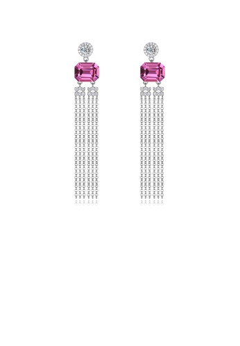 Glamorousky pink 925 Sterling Silver Elegant Fashion Long Tassel Earrings with Pink Austrian Element Crystal D44B0AC9C39647GS_1