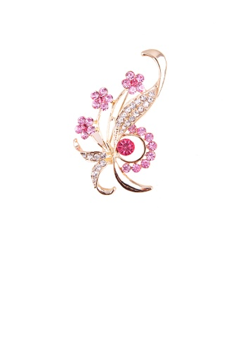 Glamorousky pink Fashion and Elegant Plated Gold Floral Brooch with Pink Cubic Zirconia 1799FACA8F9FC9GS_1