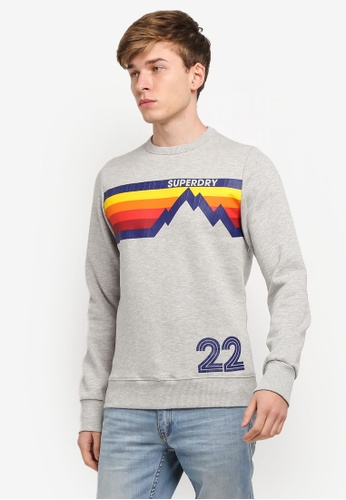 Superdry grey Mountain Line Crew Sweatshirt SU137AA0SI2RMY_1