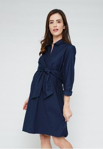 9months Maternity navy Navy Wrap Nursing Shirt Dress 97C11AA3449286GS_1