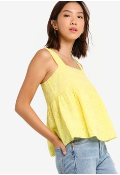 898ec961d00e02 Something Borrowed yellow Embroidered Babydoll Top 79CF3AA0900E4EGS_1