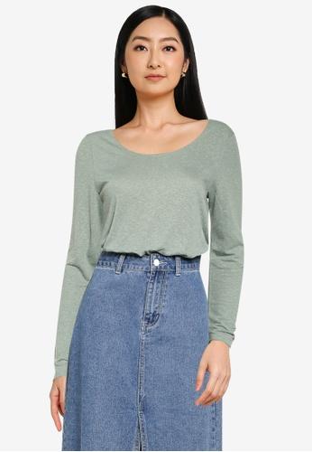 JACQUELINE DE YONG green Linette Long Sleeve Top 46B33AAB1D69B3GS_1