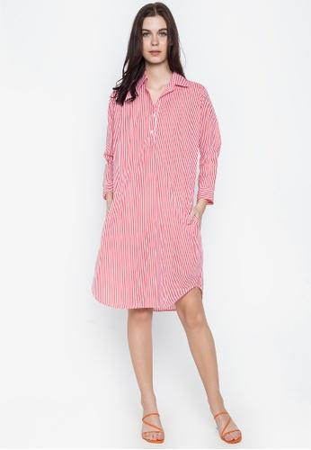 Chictees red Macie Stripe Polo Dress F88C5AAFBDF5A5GS_1