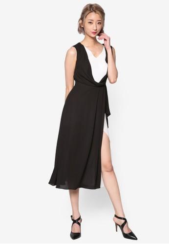 色塊荷葉飾及膝洋裝, 服飾esprit 台灣官網, 洋裝