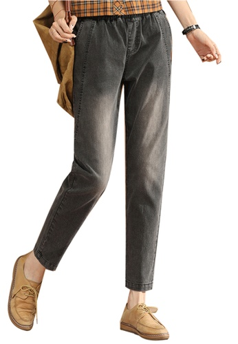 A-IN GIRLS black Elastic Waist All-Match Jeans 4C457AAB0A1C28GS_1