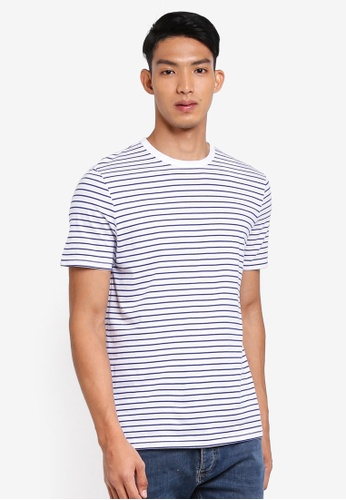Topman 藍色 Navy And White Striped T-Shirt 150D9AA2018521GS_1
