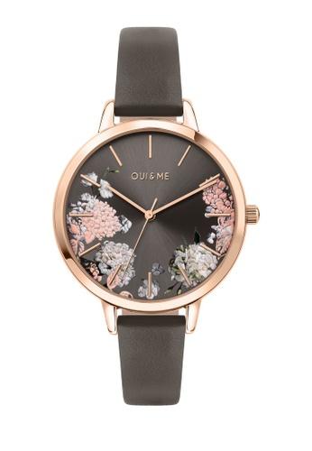 Oui & Me grey Grande Fleurette Quartz Watch Dark Gray Leather Strap ME010107 2279BACCE7FDEAGS_1