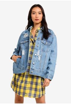 203b08569382e MISSGUIDED blue Distressed Oversized Boyfriend Jacket E4ECFAAF69938AGS 1