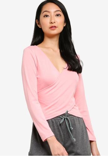 ZALORA BASICS pink Lounge Wrap Over Jersey Top 879B9AA3542C04GS_1