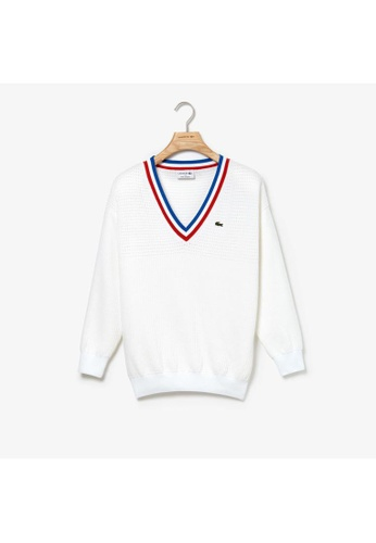 9c7988949 Lacoste white Women's MADE IN FRANCE V-Neck Tricolour Striped Cotton  Sweater - AF3991-