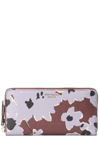 Kate Spade purple and brown Kate Spade Cameron Floral Bouquet Large Continental Wallet- Purple Multi D4CF3ACEB87EEDGS_1