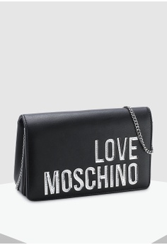 5e0ad93783022 30% OFF Love Moschino Matte Silver Logo Sling Bag S  199.00 NOW S  138.90  Sizes One Size