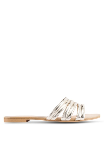 ZALORA gold Metallic Strap Sliders 1A991SH05E609DGS_1