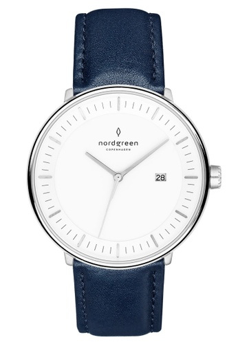 Nordgreen blue and silver Nordgreen Philosopher Silver 40 mm - Navy Blue Leather Watch 6C2ACAC26AA3AEGS_1