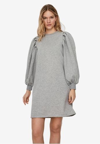 Vero Moda grey Natalie Long Sleeve Pleat Dress 37DEBAAE1BEB14GS_1