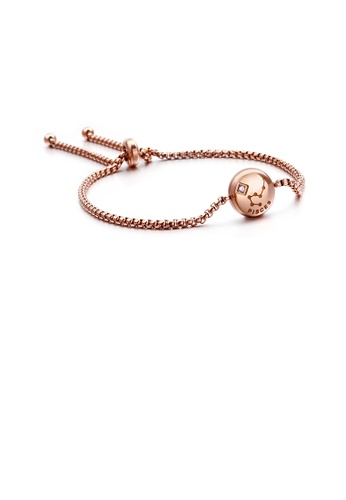 Glamorousky white Simple and Fashion Plated Rose Gold Twelve Constellation Pisces Round 316L Stainless Steel Bracelet with Cubic Zirconia 9056EAC71E7F14GS_1