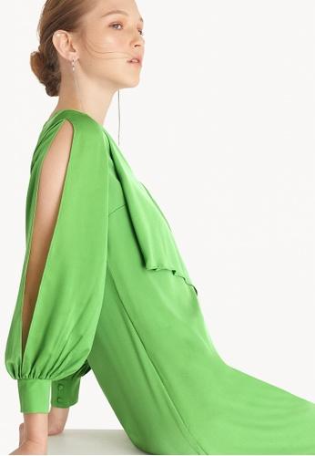Pomelo green Asymmetric Frill Mini Dress - Green 08304AA6A8E7B3GS_1