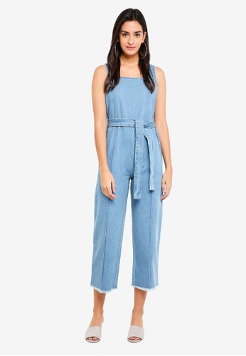 ZALORA blue Denim Square Neck Jumpsuit 37CE7AA86C5739GS_1
