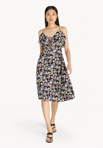 Pomelo black Ruffled Floral Strappy Dress - Black E5479AA257BB0AGS_1