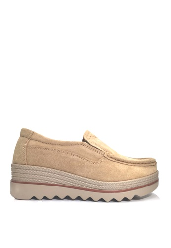 Twenty Eight Shoes 米褐色 牛反絨車線輕便鞋 VC3088 EA38ASHF44E60DGS_1