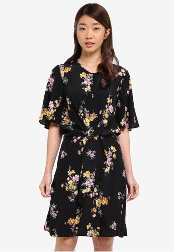Dorothy Perkins black Black Floral Twist Front Dress F396CAA9AFCFD8GS_1