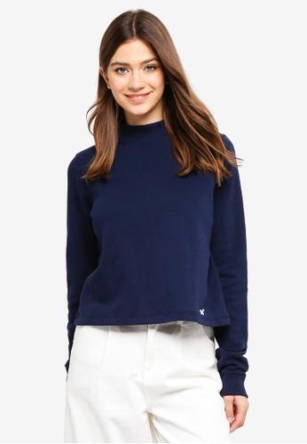 Hollister navy Logo Boxy Sweatshirt 4D530AAFC671A3GS_1