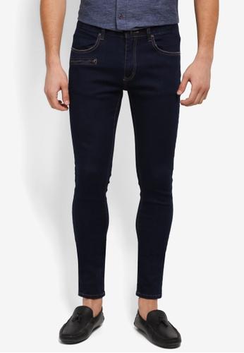 ZALORA navy Skinny Fit Zipper Pocket Jeans 05B0AAAABE645FGS_1