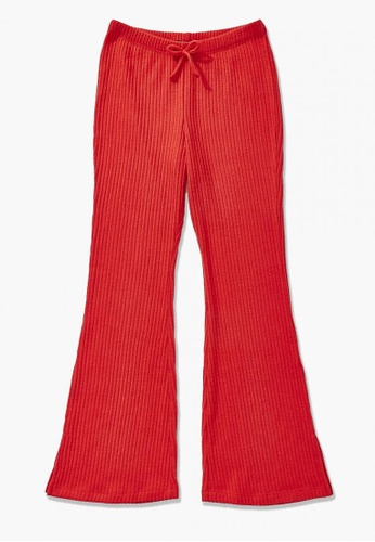 FOREVER 21 red Ribbed Flare Pants D7894KA0219431GS_1