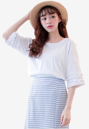 Tokichoi white Frill Sleeve Basic Tee 33253AAB816BF3GS_1