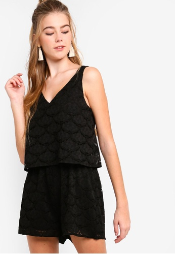 Something Borrowed black Double-Layer Lace Playsuit 521D5AAD82EC2AGS_1