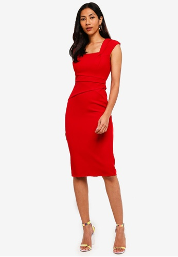 Lipsy red Pleat Waist Midi Bodycon Dress F6771AAEC9359BGS_1
