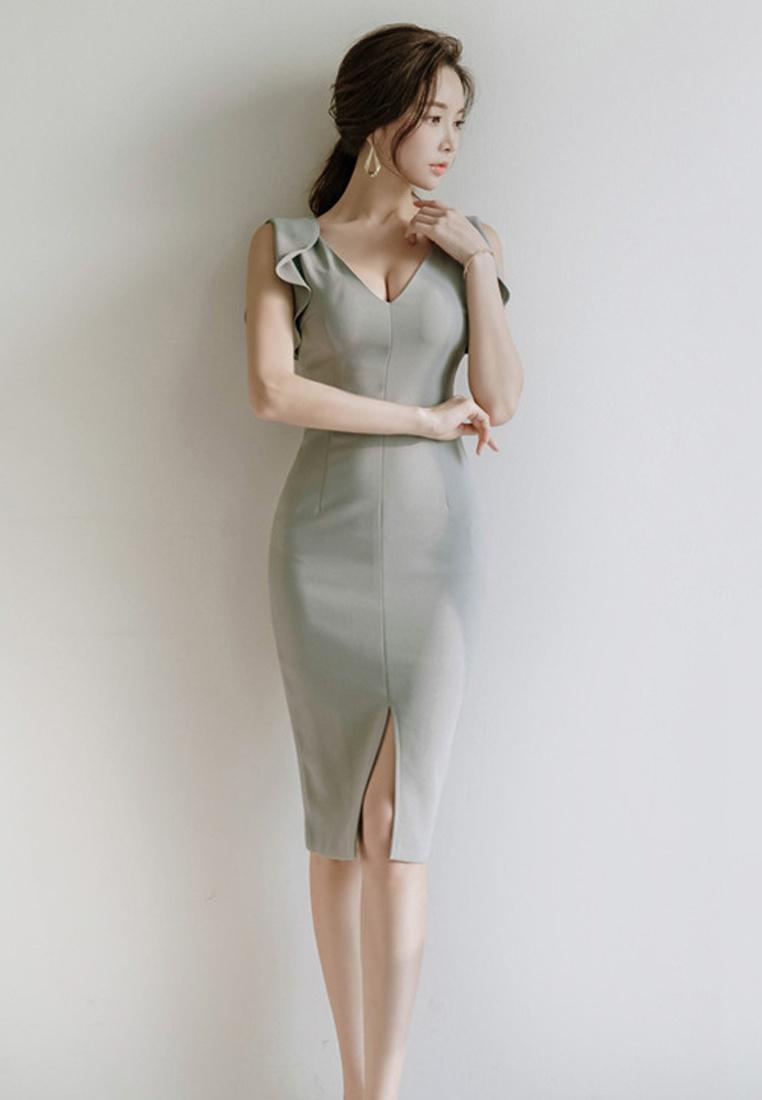 Sunnydaysweety Neck Dress S Grey V CA041804 New 2018 Piece One S Sleeveless Brown gwZgPqH