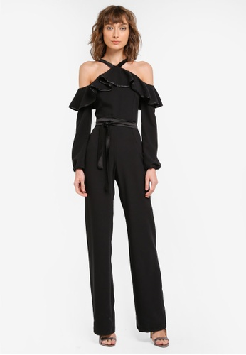 Vesper black Vesper Jaynie Cold Shoulder Frill Detail Jumpsuit VE733AA0SO0DMY_1