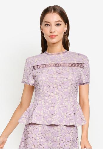 ZALORA OCCASION purple Crochet Lace Peplum Top F9BB1AAC823F73GS_1