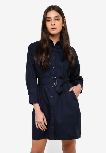 ZALORA navy Belted Shirt Dress With Pockets 86F14AAB52F9D5GS_1