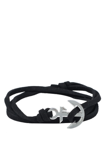 Thread Etiquette black Noir Leather Anchor Bracelet EA552AC4827682GS_1