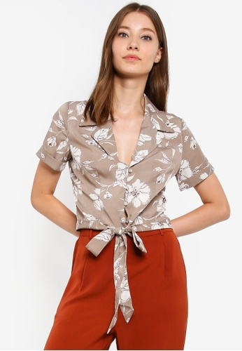 ZALORA multi and beige Tie Detail Top A57F0AAC1D6AE7GS_1